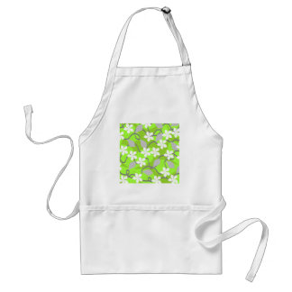 Green and White Flowers. Floral Pattern. Apron