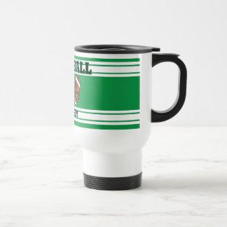 Green and White Football Stainless Steel Travel Mug