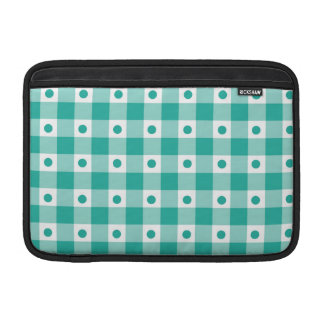 Green And White Gingham Check Dots Pattern Sleeve For MacBook Air