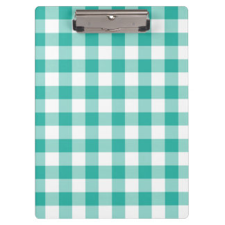 Green And White Gingham Check Pattern Clipboard