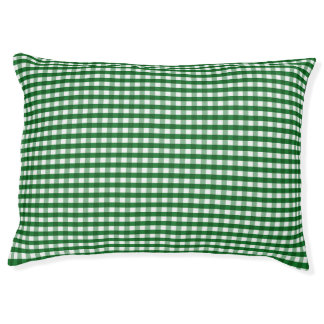 Green and White Gingham Pet Bed