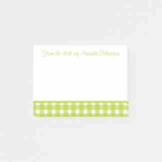 Green and White Gingham Plaid Checks Post-it Notes