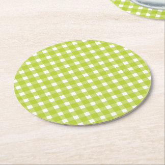 Green and White Gingham Plaid Checks Wedding Party Round Paper Coaster