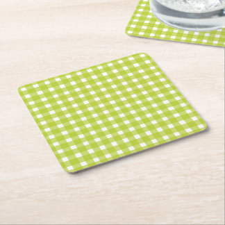 Green and White Gingham Plaid Checks Wedding Party Square Paper Coaster