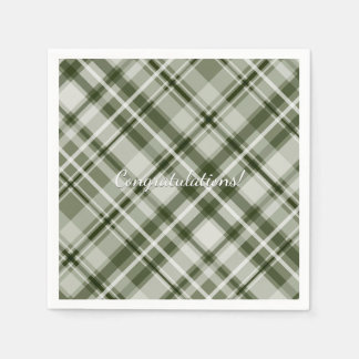 Green and white grayed jade tartan plaid disposable napkins