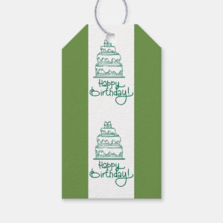 Green And White Happy Birthday Design Gift Tags