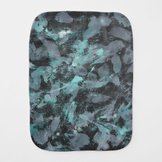 Green and White Ink on Black Background Burp Cloth
