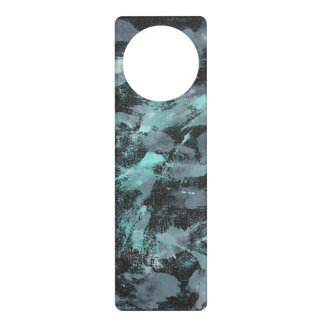 Green and White Ink on Black Background Door Hanger