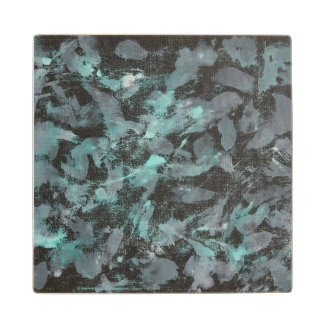 Green and White Ink on Black Background Wood Coaster