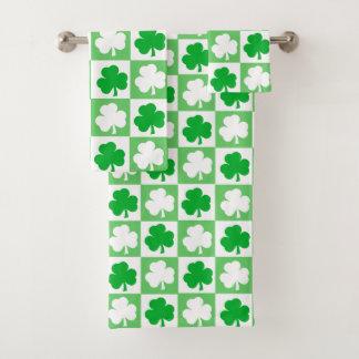 Green and White Irish Shamrocks Checkerboard Bath Towel Set
