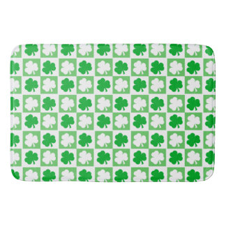 Green and White Irish Shamrocks Chequerboard Bath Mat