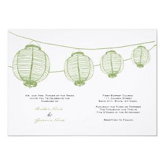 Green and White Lanterns Wedding Invitation