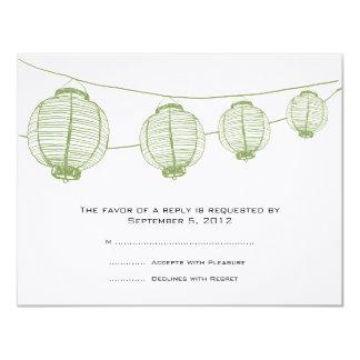 Green and White Lanterns Wedding RSVP 11 Cm X 14 Cm Invitation Card