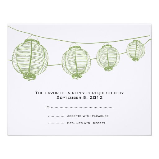 Green and White Lanterns Wedding RSVP Announcements