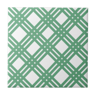 Green and White Lattice Ceramic Tile