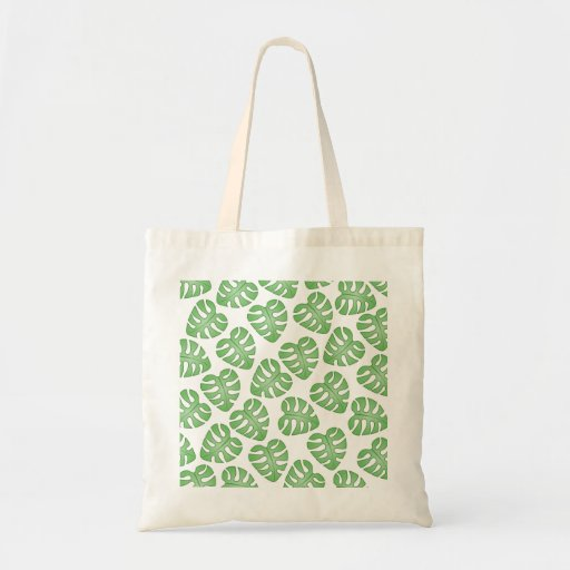 Green and White Leaf Pattern. Tote Bag