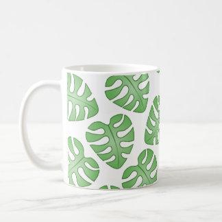 Green and White Leaf Pattern. Coffee Mug