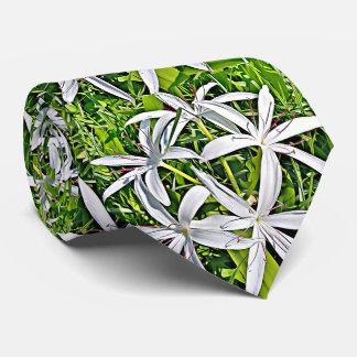 Green and White Lily - elegant floral tie