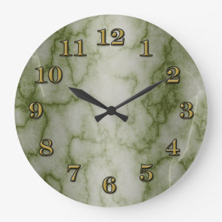Green and White Marble Large Clock