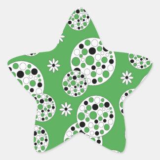 Green and White Modern Circular Print Star Sticker