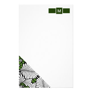 Green and White Monogram with Tropical Palm Leaves Customised Stationery