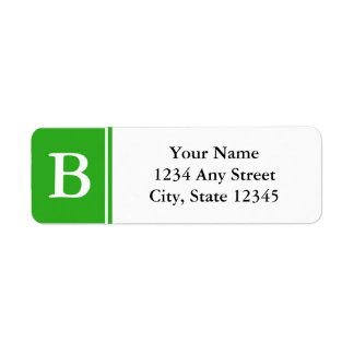 Green and White Monogrammed Return Address Labels