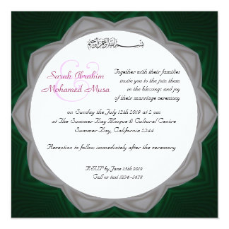 Green and white Muslim wedding Card
