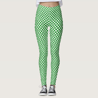 Green and White Optical Illusion Pattern Leggings
