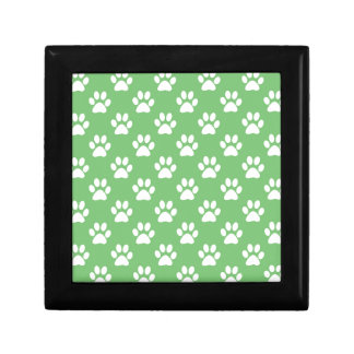 Green and white paws pattern gift box