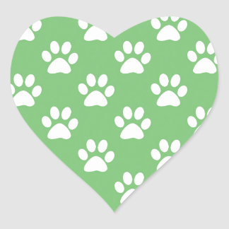 Green and white paws pattern heart sticker