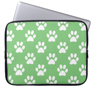 Green and white paws pattern laptop sleeve