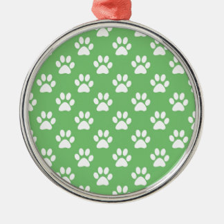 Green and white paws pattern metal ornament