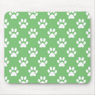 Green and white paws pattern mouse pad