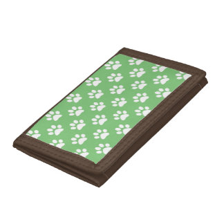 Green and white paws pattern tri-fold wallet