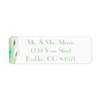 Green and White Peace Lily Elegant Design Return Address Label