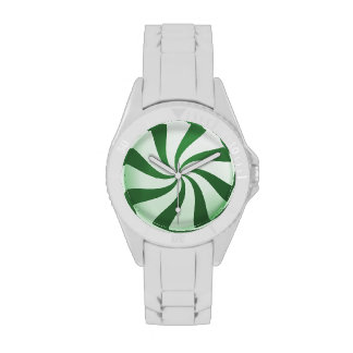 Green and White Peppermint Candy Holiday Watch