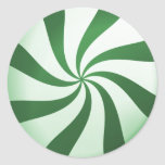 Green and White Peppermint Candy Stickers