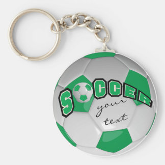 Green and White Personalize Soccer Ball Basic Round Button Key Ring