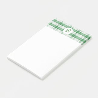 Green and White Plaid Pattern Monogrammed Post-it Notes