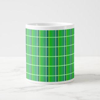 Green and White Plaid Pattern Jumbo Mug