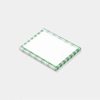 Green and White Plaid Pattern Print Post-it Notes
