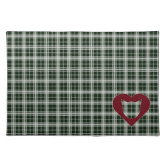 Green-and-White Plaid Place Mat with Cat-Heart