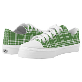 Green and White Plaid St. Patricks Day Shoes Printed Shoes