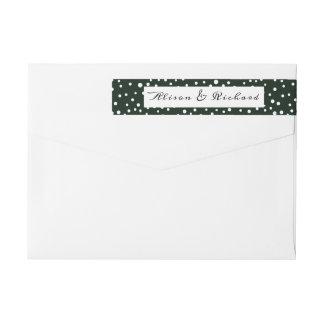 Green and white polka dot pattern wedding wrap around label