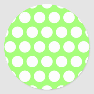 Green and White Polka Dots Classic Round Sticker