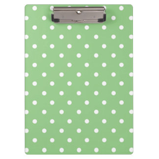 Green and White Polka dots Clipboard