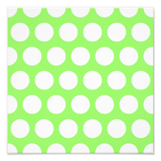 Green and White Polka Dots Photographic Print