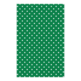 Green and White Polka Dots Stationery Paper