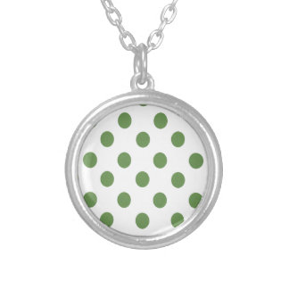 Green and White Polkadots Round Pendant Necklace