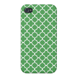 Green and White Quatrefoil Patterns iPhone 4/4S Cover